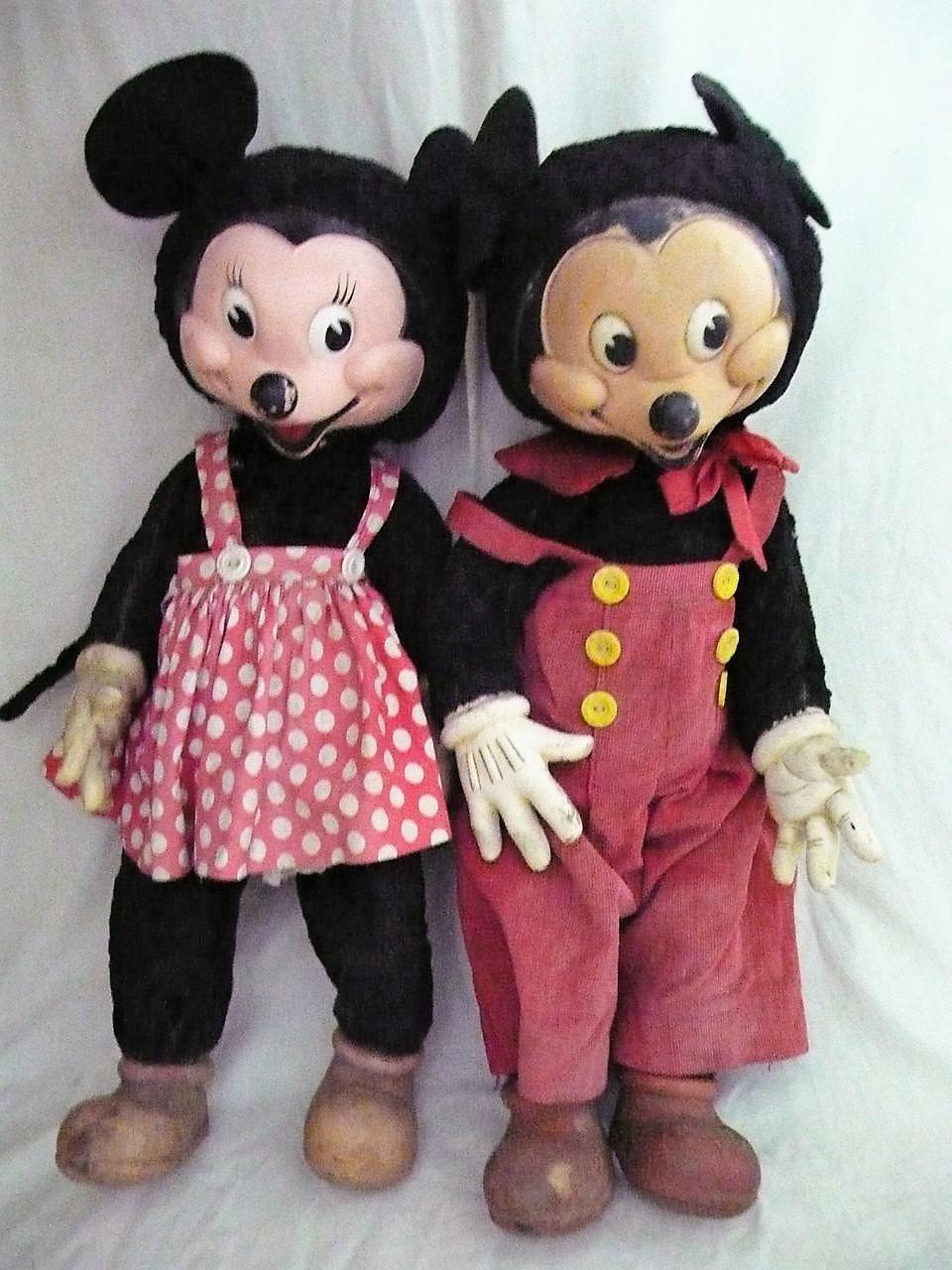 '40s Gund stuffed Mickey & Minnie Mouse toys