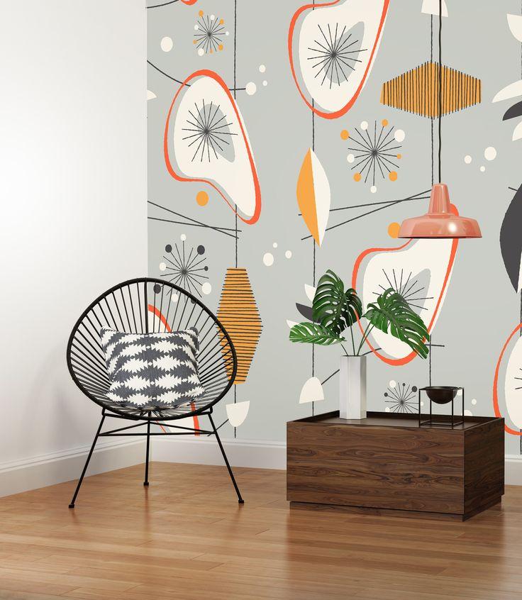 Mid-century geometric wallpaper