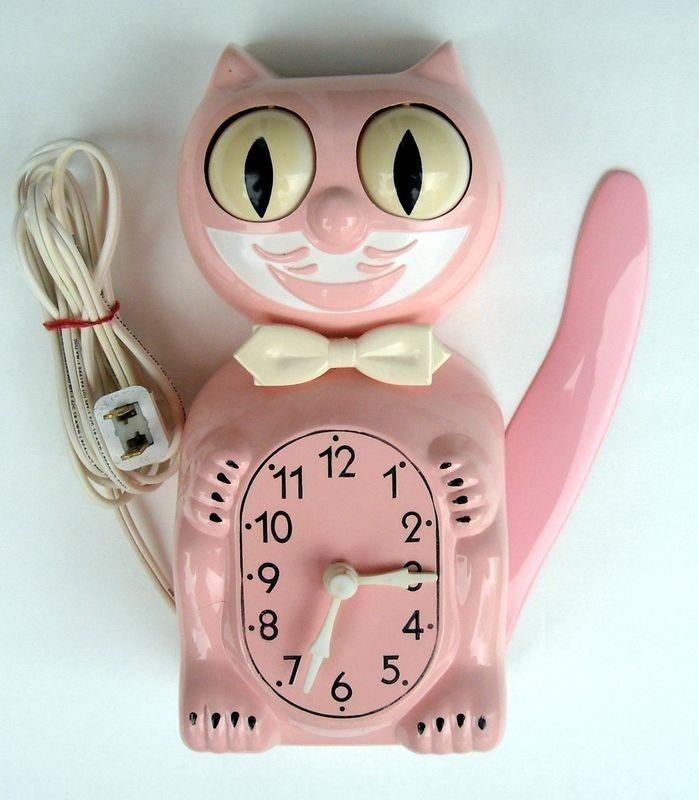 Vintage mid-century Pink Kit-Cat Klock