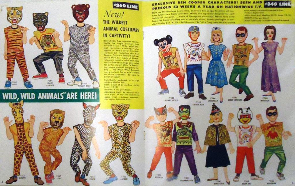 Vintage mid-century Halloween costumes catalog page