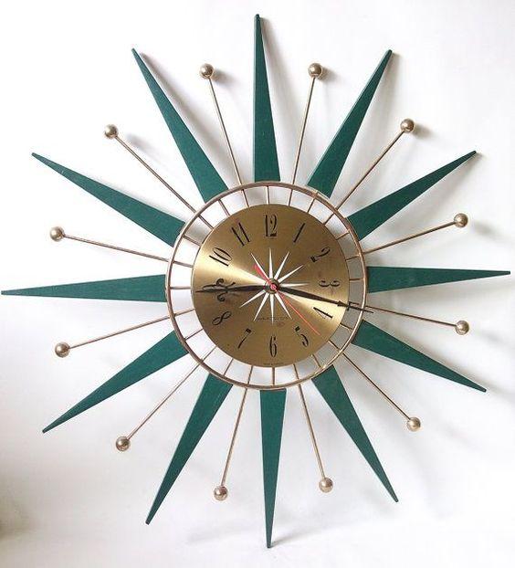 "Vintage mid-century ""Sunburst"" Pattern Westclox Wall Clock"