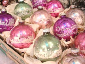 Vintage 1950's Box of Stenciled Shiny Brite ornaments.