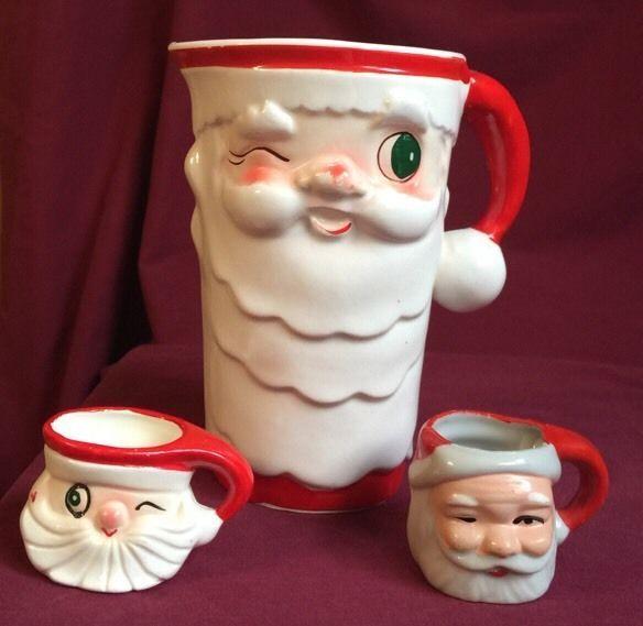 """Vintage Holt Howard """"Winking Santa"""" pitcher and mug set"""