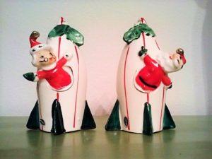 Vintage Atomic Age Holt-Howard Santa Rocket salt and pepper shakers
