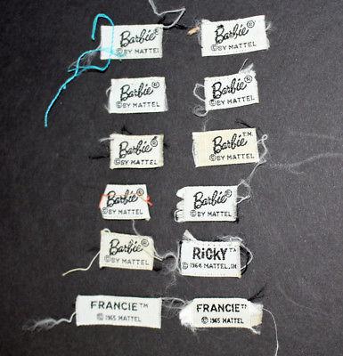 VIntage early Mattel Barbie doll labels